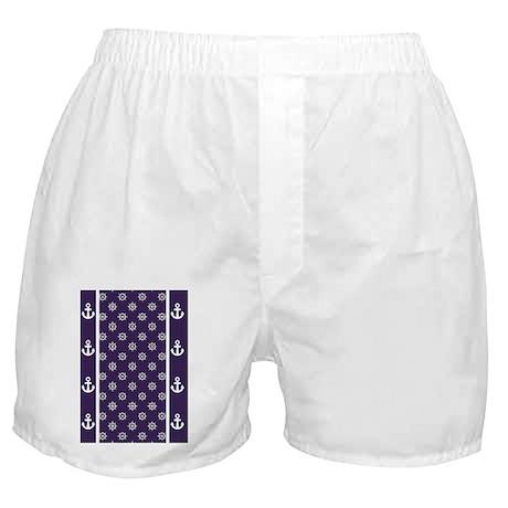 Ship Wheels 5x7 W Dk Purple Boxer Shorts