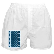 Ship Wheels 5x7 W Nautical Blue Boxer Shorts