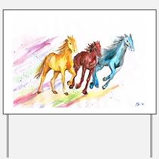 Watercolor Horses Yard Sign