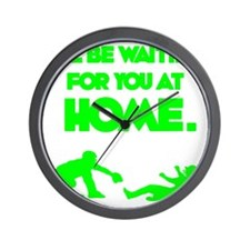 green2 Waiting on black Wall Clock
