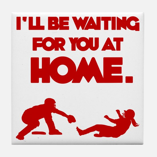 red Waiting Tile Coaster