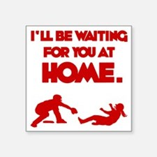 "red Waiting Square Sticker 3"" x 3"""