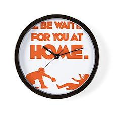 Orange Waiting Wall Clock