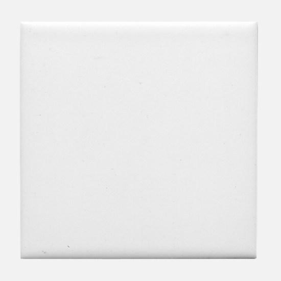 white Waiting on black Tile Coaster