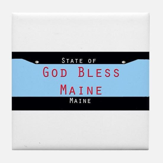 Maine God Bless Tile Coaster