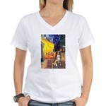 Cafe-AussieShep #4 Women's V-Neck T-Shirt