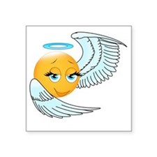 "Cute smily an angel Square Sticker 3"" x 3"""
