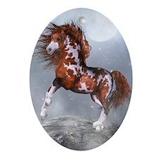 Native Horse Oval Ornament