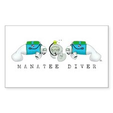 Manatee Diver Rectangle Decal