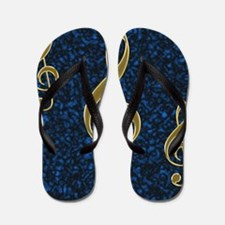 Golden Treble Clef Flip Flops
