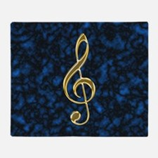 Golden Treble Clef Throw Blanket