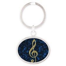 Golden Treble Clef Oval Keychain