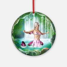 Pink Mermaid Round Ornament