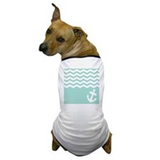 Mint green anchor and chevron Dog T-Shirt