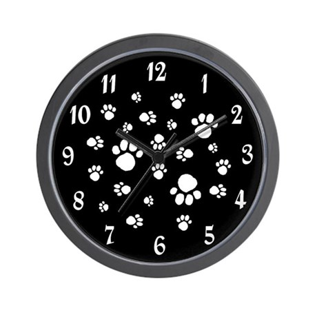 BLACK PAW PRINTS CLOCK Wall Clock