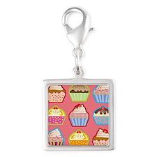 Cute Cupcakes Silver Square Charm