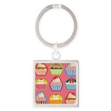 Cute Cupcakes Square Keychain