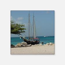 """Sailboat in Aruba Square Sticker 3"""" x 3"""""""