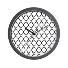 Black Moroccan lattice Wall Clock