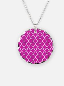 Hot pink quatrefoil pattern Necklace