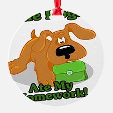 cute dog ate my homework cartoon Ornament