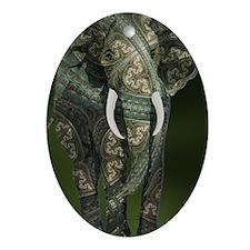 Fractal Elephant Oval Ornament