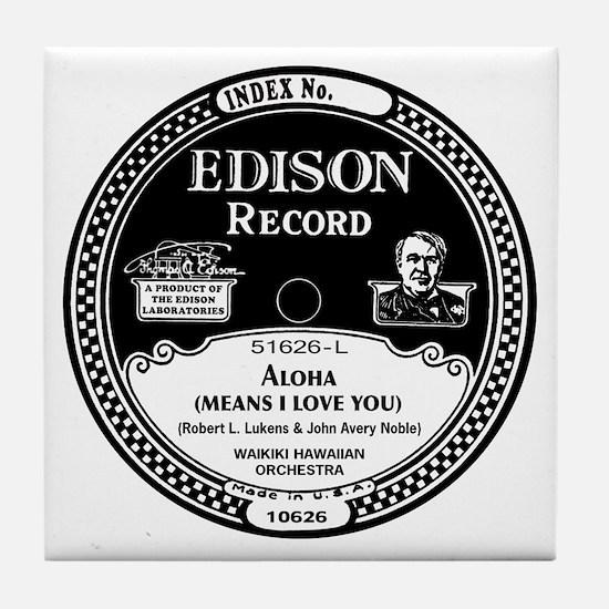 Aloha Edison Record Label Tile Coaster