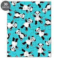 Cute Happy Panda Bear Cartoon Print Blue Puzzle