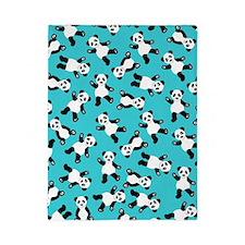 Cute Happy Panda Bear Cartoon Print Blu Twin Duvet