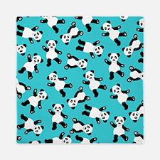 Cute Happy Panda Bear Cartoon Print Bl Queen Duvet