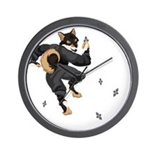 Shiba Inu Ninja - Black and Tan Wall Clock