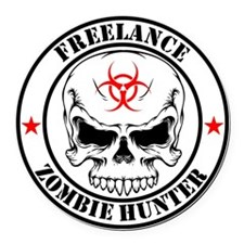 Freelance Zombie Hunter Round Car Magnet