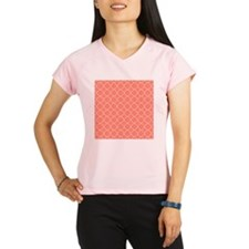 Coral Quatrefoil Pattern Performance Dry T-Shirt
