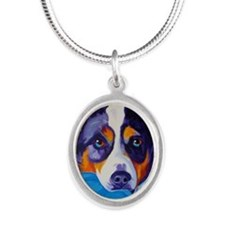 Heeler #1 Silver Oval Necklace