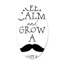 Keep Calm Mustache Oval Car Magnet