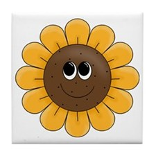 cute sunflower smiley face cartoon Tile Coaster