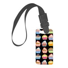 Cute Cupcakes On Black Backgroun Luggage Tag