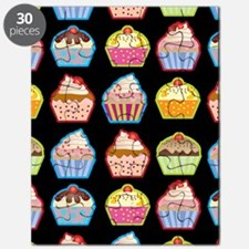 Cute Cupcakes On Black Background Puzzle