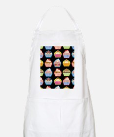 Cute Cupcakes On Black Background Apron