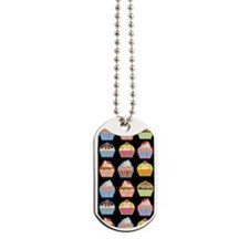 Cute Cupcakes On Black Background Dog Tags