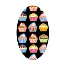 Cute Cupcakes On Black Background Oval Car Magnet