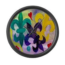 mardi gras fdl Large Wall Clock