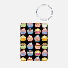 Cute Cupcakes On Black Bac Keychains