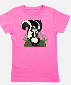 funny skunk with flowers Girl's Tee
