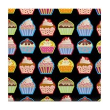 Cute Cupcakes On Black Background Tile Coaster