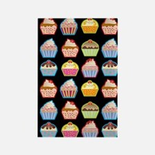 Cute Cupcakes On Black Background Rectangle Magnet