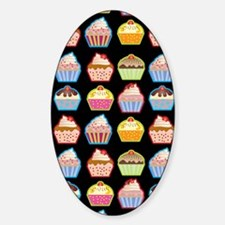 Cute Cupcakes On Black Background Decal