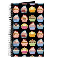 Cute Cupcakes On Black Background Journal