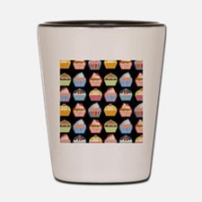 Cute Cupcakes On Black Background Shot Glass