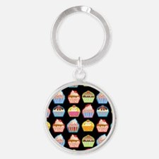 Cute Cupcakes On Black Background Round Keychain